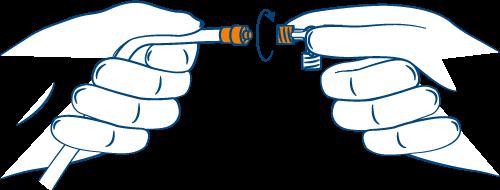 Zeichnung 3-Wege-Hahn mit Spülschlauch verbinden