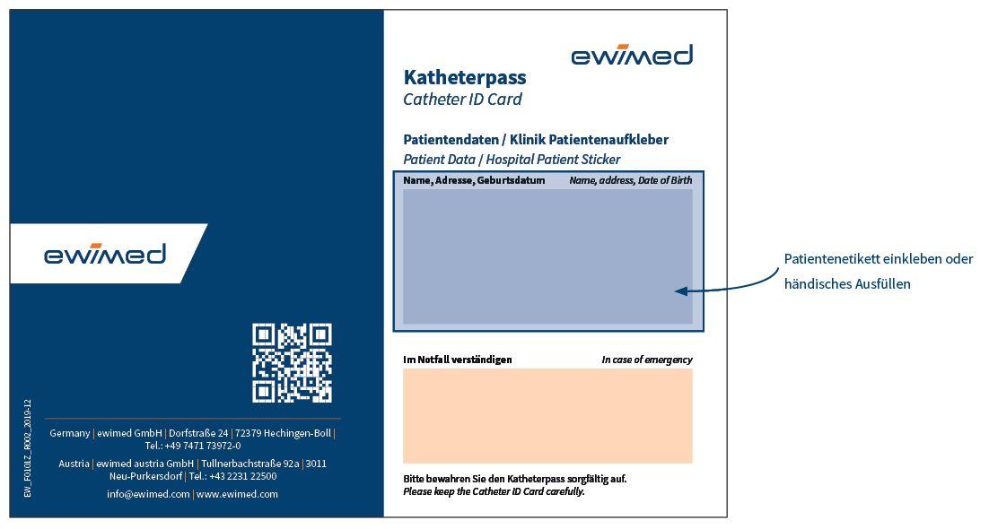 Katheterpass Vorder- und Rückseite